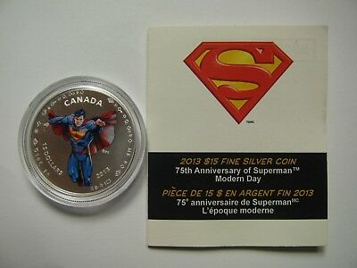 2013 Matte Proof $15 75th Ann Superman Modern Day Canada COIN&COA ONLY .9999 sil