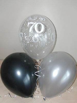 Black Silver Clear Printed 70th BIRTHDAY BALLOONS Party Decorations X12 Helium