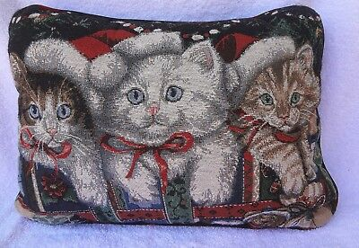 "CHRISTMAS CAT PILLOW Tapestry With 3 Kittens Design 11 1/2"" by 16"""