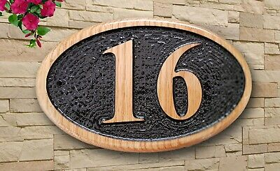 3ef7dfd6134d Personalized 3D Carved Home Number Wooden Oak/Pine Sign Plaque Outdoor