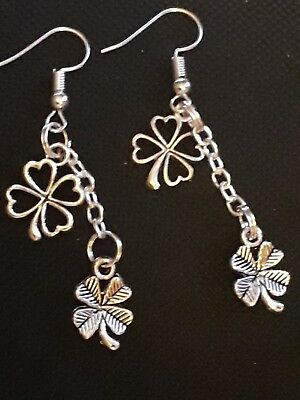 Silver Plated Drop Charm EARRINGS Four Leaf Clovers Shamrock Lucky Leaves Gift