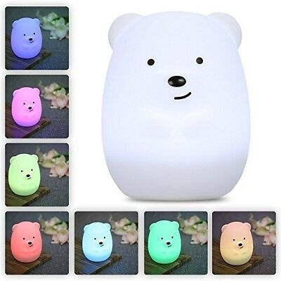 Baby Night Lights Light Nursery Lamp Cute Portable LED Soft Touch Safe For Kids
