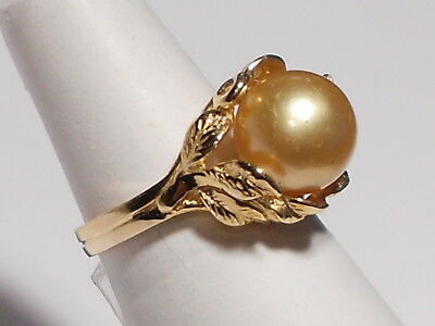 9.7mm golden South Sea pearl ring,solid 14k yellow gold.