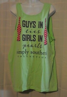 d34329cae3b0f3 SIMPLY SOUTHERN COLLECTION Tank Guys in Ties Girls in Pearls large mint  green -  10.97