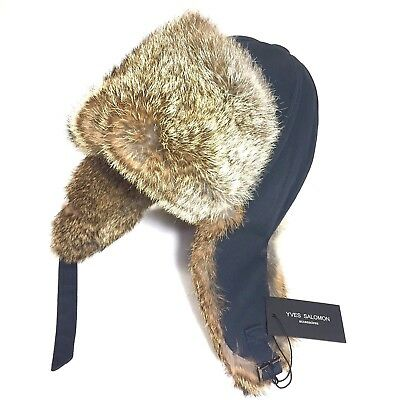 a5b2aa33123 YVES SALOMON HOMME Mens Rabbit Fur Lined Aviator Insulated Blue Hat (MSRP   210) -  148.99