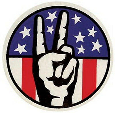 Hippy USA Flag    Peace Sign   Vintage Looking  1960's  Travel Decal Sticker