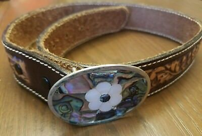 Youth Girls Mother of Pearl Abalone Belt Buckle & leather etched belt 26
