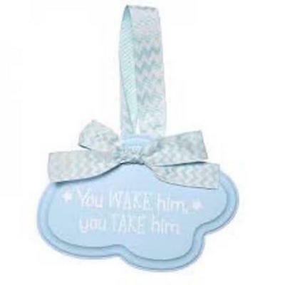 CRGibson Wooden Door Hanger Baby Boys Blue Ribbon Baby Shower Gift Newborn