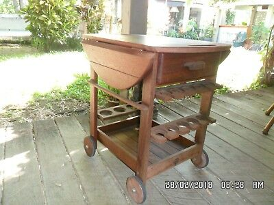 """""""Kasule"""" Kwila Timber Buffet Drinks BBQ Trolley Oval Fold Table Top with Drawer"""