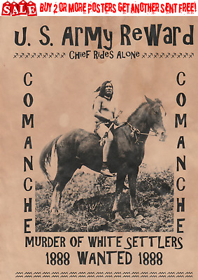 Wanted Old West Poster Indian Geronimo Tribe Chief Sioux Apache Bull Crazy