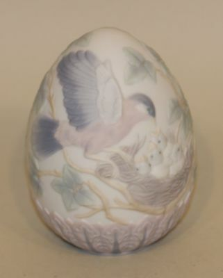 SIGNED 1993 Retired Lladro Spain Porcelain Limited Edition Egg Box 16083 Robins