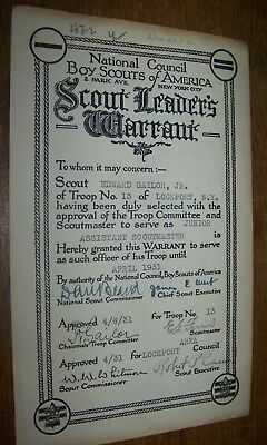 1931 Vintage Bsa Boy Scout Leaders Warrant Certificate Document Lockport Ny