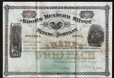 1879 Osceola Iowa - Knotts Mexican Silver Mining Co -- RARE Stock Certificate