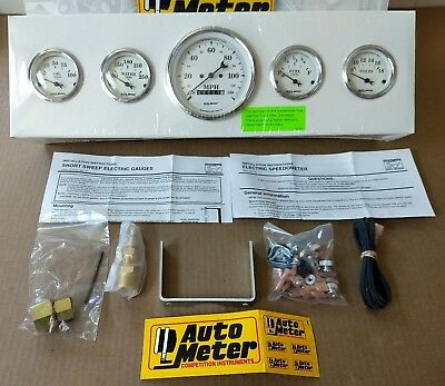 New Auto Meter 5-Pc Gauge Kit 3-3/8 & 2-1/16 Elec Spedmtr, Old Tyme White, #1640