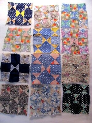 """Lot of 12 FEEDSACK GALORE 9"""" sq Quilt Blocks Hens and Chicks var H-Pc'd c1930-45"""