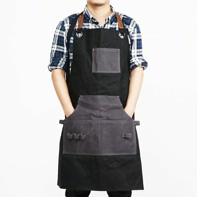 Waxed Canvas Workshop Apron Heavy Duty Leather Working Aprons with Pockets NEW