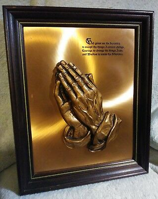 Coppercraft Guild 3D Framed Picture Praying Hands Vintage Serenity Prayer 16""
