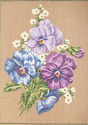 Sale! Assorted Pansies Needlepoint Canvas From Gobelin L #15.281