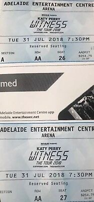 """Katy Perry Adelaide The Witness Tour """"Reserved"""" Ticket X 1 July 31 AA Seat 27"""