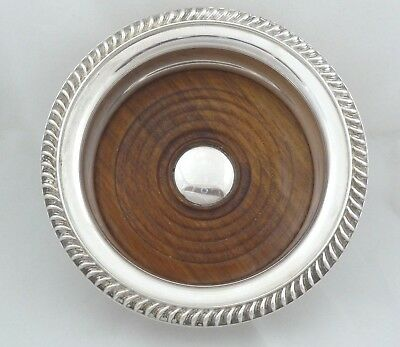 Barker-Ellis Silver Plate & Mahogany Wine Coaster Holder England Menorah Mark