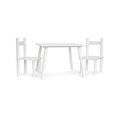 White Wooden Art Craft Table and 2 Chairs Set for Kids Children Toddler Drawing