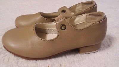 Leo's Student Tap Shoes Toddler Child Size 9 1/2 S Beige Tan Kids Dance Girls