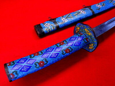 Beautiful 19th C. Chinese Large DAO Sword in Fine Cloisonne Enamel Copper Mounts