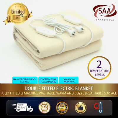 Double Electric Heating Blanket - Poral Fleece - 2 Heat Settings - SAA Approved
