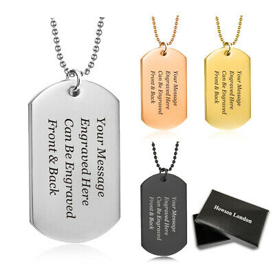 Personalised Valentines Gift Military Army Dog Tag ID Tag & Necklace, Mens, Boys
