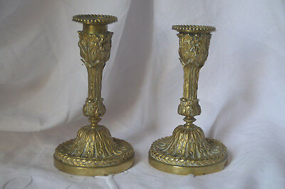Pair of antique French 19th century solid bronze candlesticks
