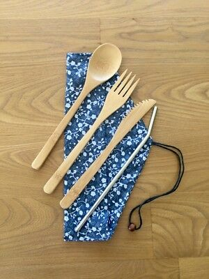 Eco Friendly Bamboo Reusable Fork, Knife and Spoon Cutlery Set with straw