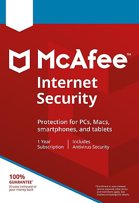 McAfee Internet Security 2019 1 Device / 1 Year Antivirus Via Email