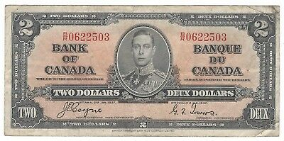 1937 Bank of Canada $2 Two Dollars Bank Note Bill Coyne Towers