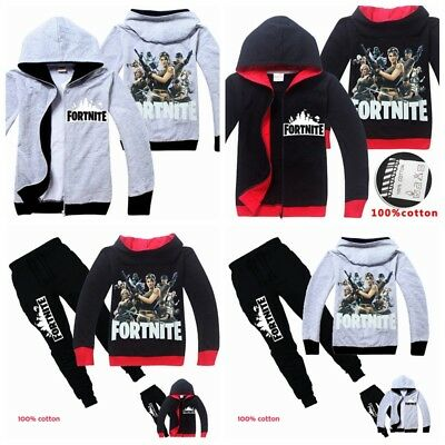 d1b4a3e15bf Boys Kids Fortnite Gaming Jumper Pullover Casual Hoody Hoodies Zip Coat  Pants