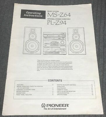 Pioneer MS-Z64 Music System Operating Manual / Instructions Booklet
