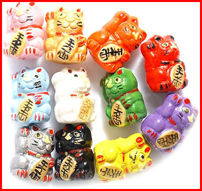 10 By 12Mm Hand Crafted Ceramic Mix Good Luck Kitty Beads Assorted Per Pack