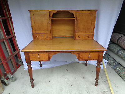 Superb 2 Pc. Early Tiger Maple Postal? Plantation? Desk, Dovetailed Construction