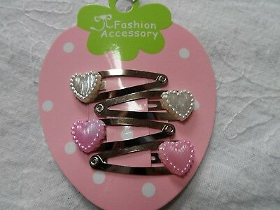 mini hair clips,girls hair clips slides snap clips pink & white hearts baby hair