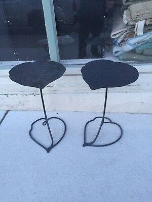 Mid Century Modern Salterini Or Style Lily Pad Leaf Iron Metal Stands Tables