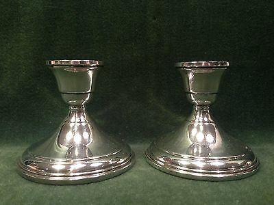 "Pair of Sterling Silver 3 1/4"" Candle sticks-P.S. Co.-Siimple Elegant Design"