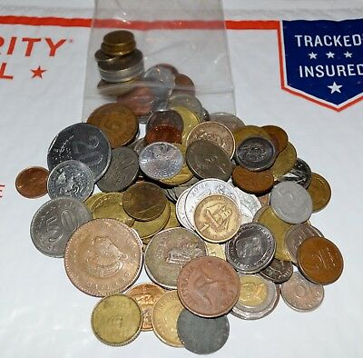 MOSTLY 20TH CENTURY HUGE MIXED BULK LOT OF 100 ASSORTED WORLD//FOREIGN COINS
