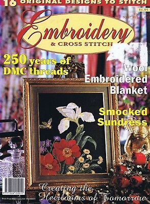 Embroidery Cross Stitch Magazine Vol 2/ 2 Crewel Flowers Drawn Thread Smocking