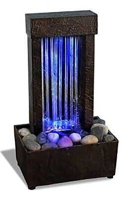 Indoor Water Fountain Desktop Waterfall Table Led Light Home Decor Feng Shui