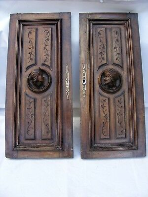 Antique Victorian / French Oak Wood Framed Panel Door With Face Carved Doors