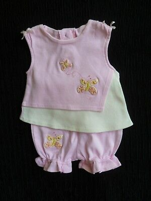 Baby clothes GIRL 0-3m Oomph pink outfit no sleeves,soft top/shorts butterflies
