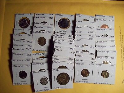 Lot Of 50 Different Uncirculated South and Central American coins