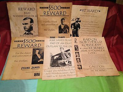 Set Of (6) Old West Wanted Vintage Posters Jesse James Outlaw Cowboy Western