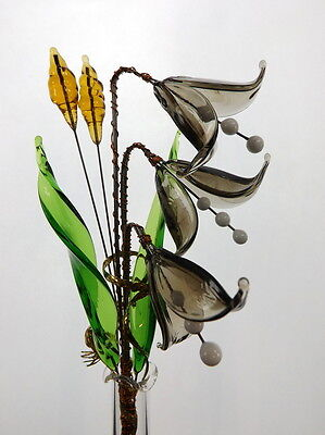 Patio Decoration Idea Lovely Crystal Glass Flower Grey Bells On Wire Stem New