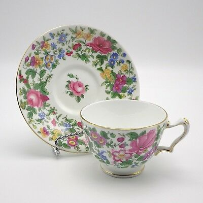 Crown Staffordshire Teacup Saucer Roses Floral English Bone China
