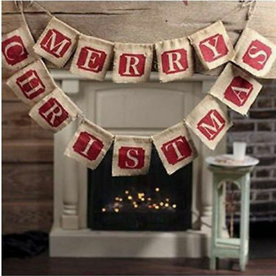 Vintage Christmas Bunting Decoration Merry Christmas Hessian Fabric 2 Strings